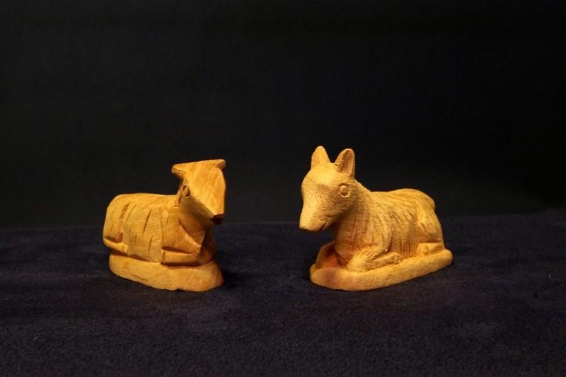 Figuren für Weihnachtskrippe  Ochs und Esel