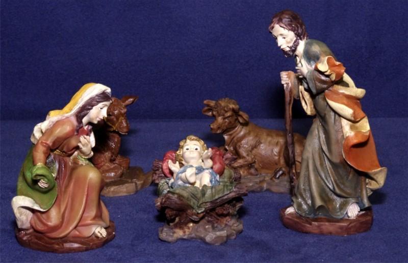 Krippenfiguren groß und bemalt - Maria, Josef, Jesuskind, Ochs und Esel
