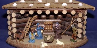 Eck-Weihnachtskrippe Blockhaus