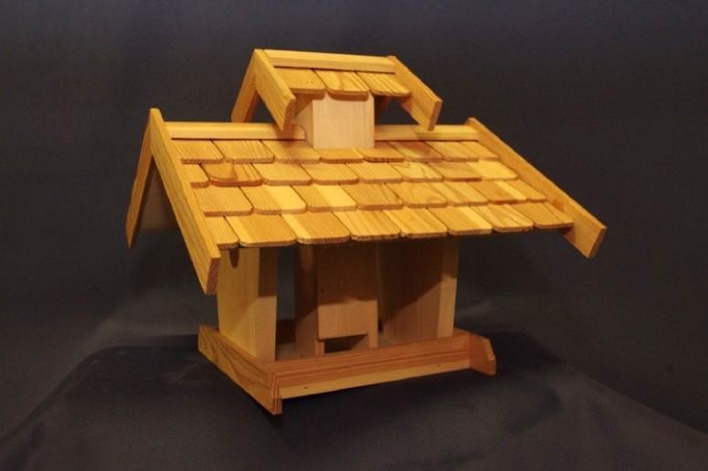 Vogelhaus mit Futterschacht handgearbeitet