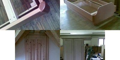 Einzelbett 4-Füllungstür und Garderobe